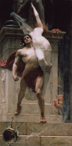 Aiace prende con la forza Cassandra in un dipinto di Solomon Joseph Solomon