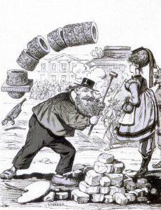 Vignetta satirica di Courbet che abbatte la Colonna di Place Vendome, 1871