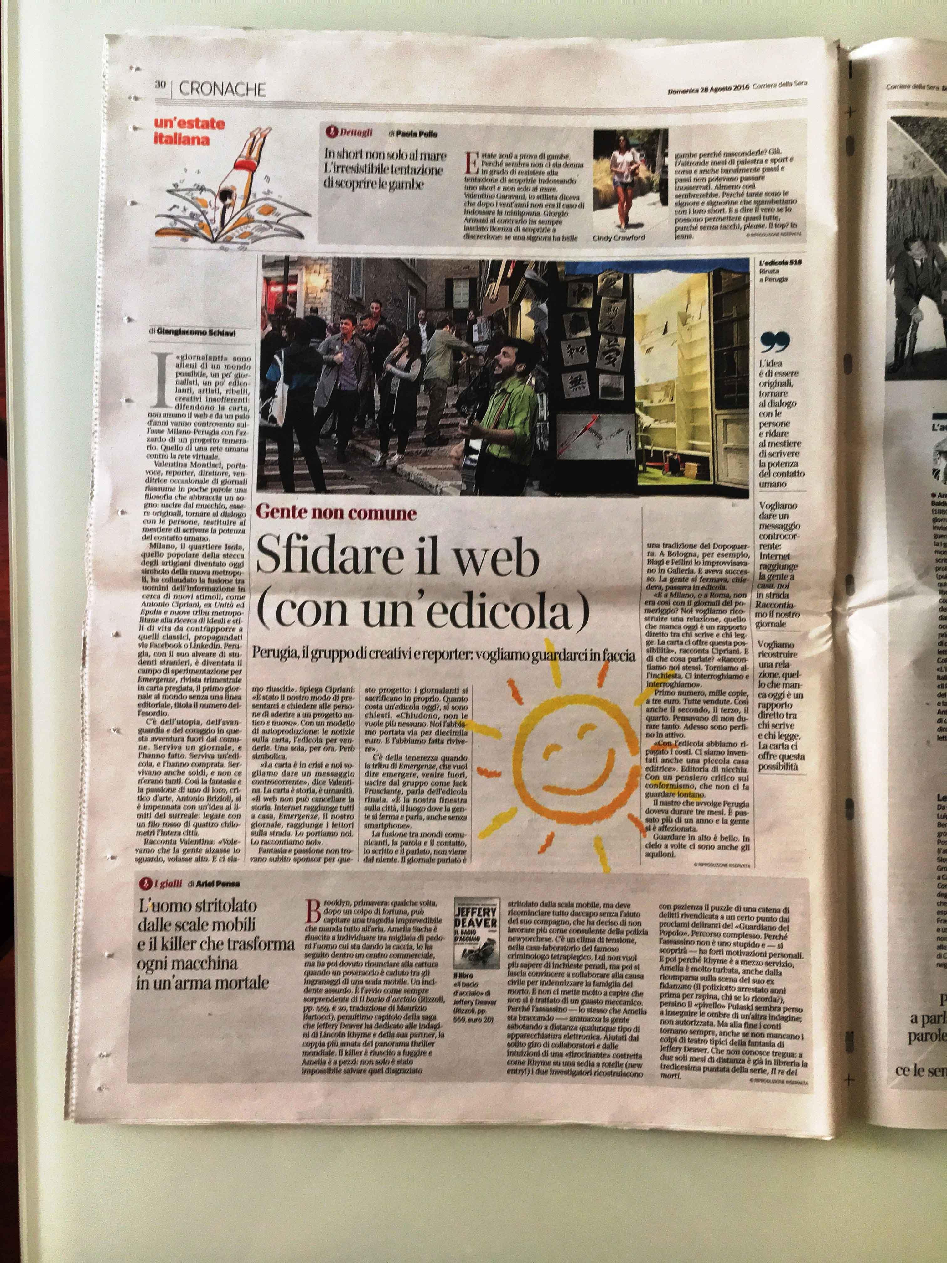 Questa la pagina del Corriere della Sera del 28 agosto su Emergenze ed Edicola 518